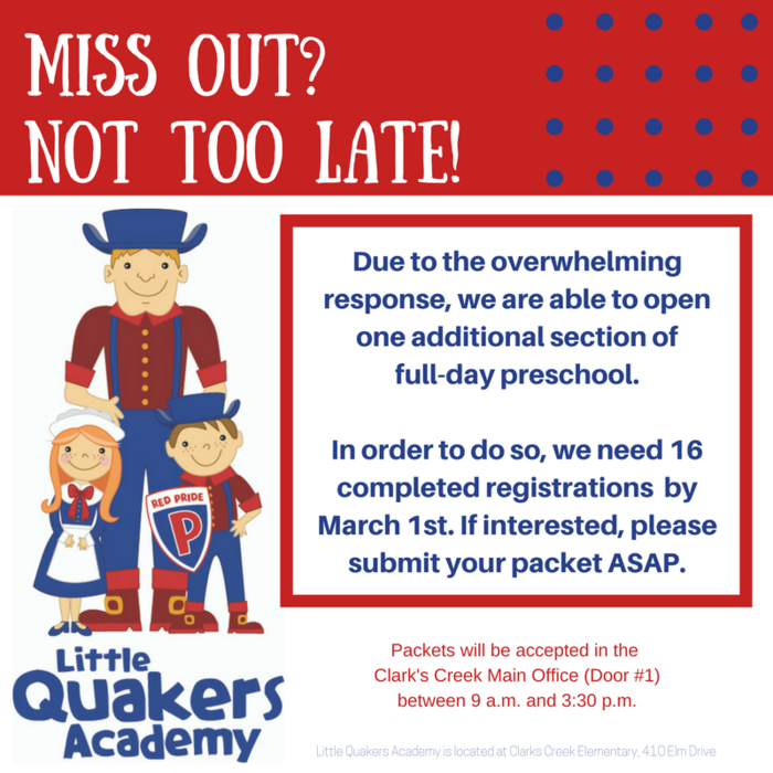 Miss out? Not too late! We're able to add one more class of full-day preschool if we receive 16 registrations by March 1st.
