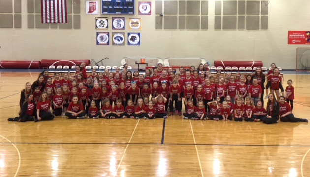 Earlier today, 100 young #QuakerFaces took part in the Red Pride Dance Team's clinic, then performed at halftime of the boys' basketball game.