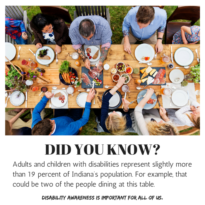 Did you know? Adults and children with disabilities represent slightly more than 19% of Indiana's population. Of the ten people dining at this outdoor farm table, that could be two of the people. Disability awareness is important for all of us.
