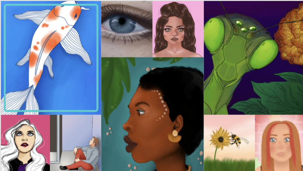 A collage of digital paintings from PHS student-artists.