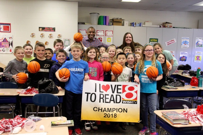 "Mrs. Judd's 3rd grade class from Clarks Creek won the Central IN ""I Love to Read"" challenge hosted by WISHTV-8 and the NCAA."