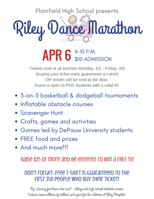 PHS hosting Riley Dance Marathon 4/6, 6-10 pm. $10 admission.