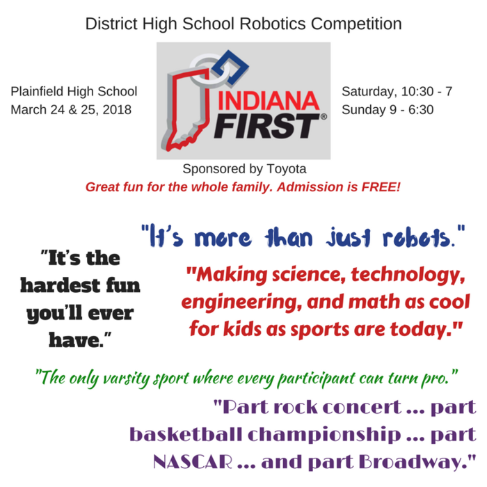 Staying in town this weekend? PHS is hosting a family-friendly, FREE event: IndianaFIRST District Robotics Competition, Saturday & Sunday. To learn more, check out the video: http://tiny.cc/gqo0ry