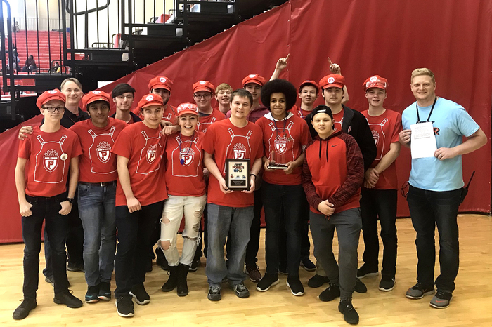 Way to go #RedPrideRobotics! Winning your first team award and making it to the semifinals this weekend!