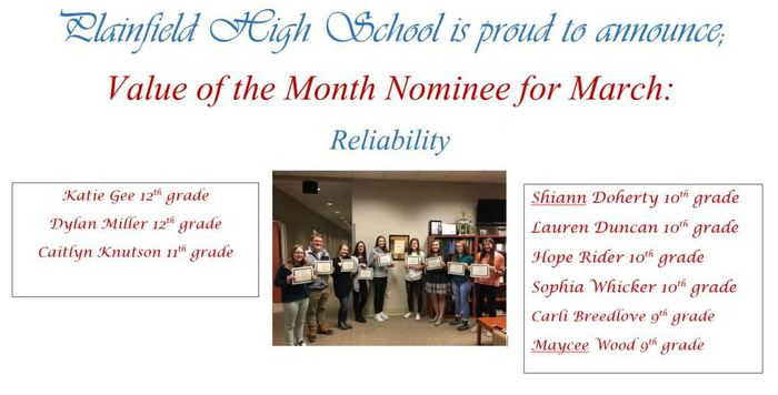March Value of Month Nominees