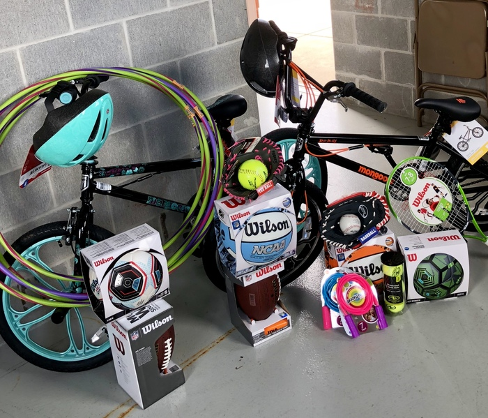 Bikes, helmets, balls, and more - all prizes for tonight's Community Health & Wellness Fair