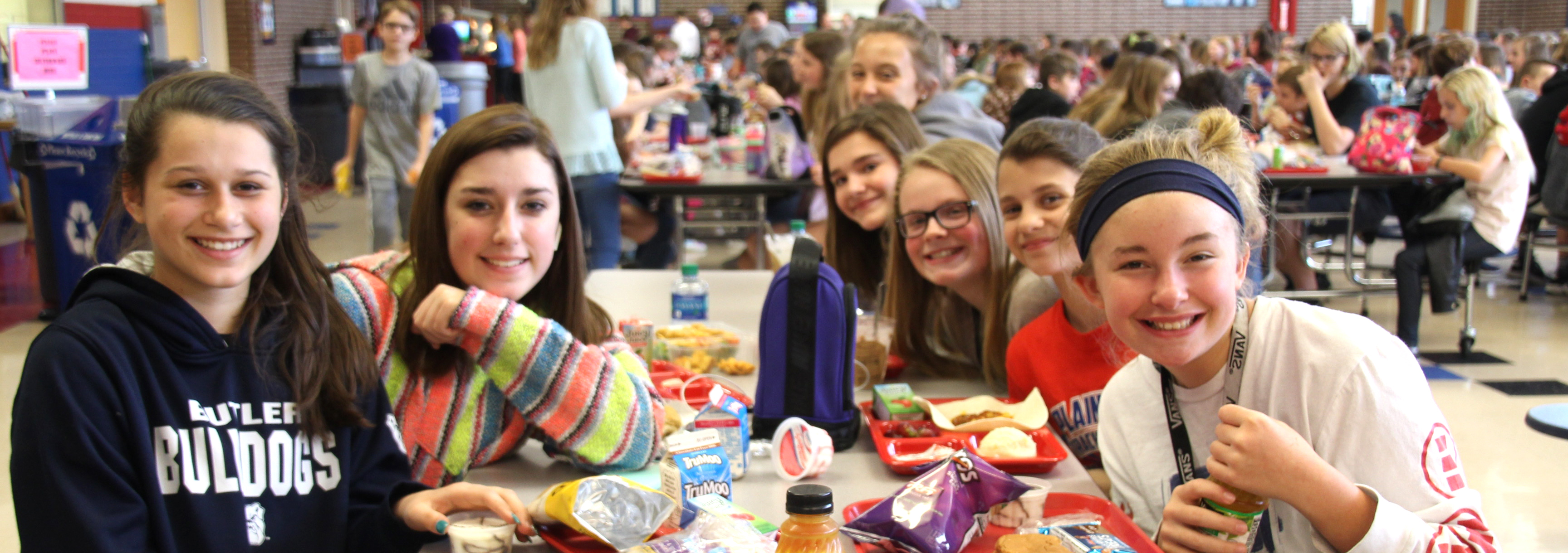 PCMS students all smiles during their lunch break