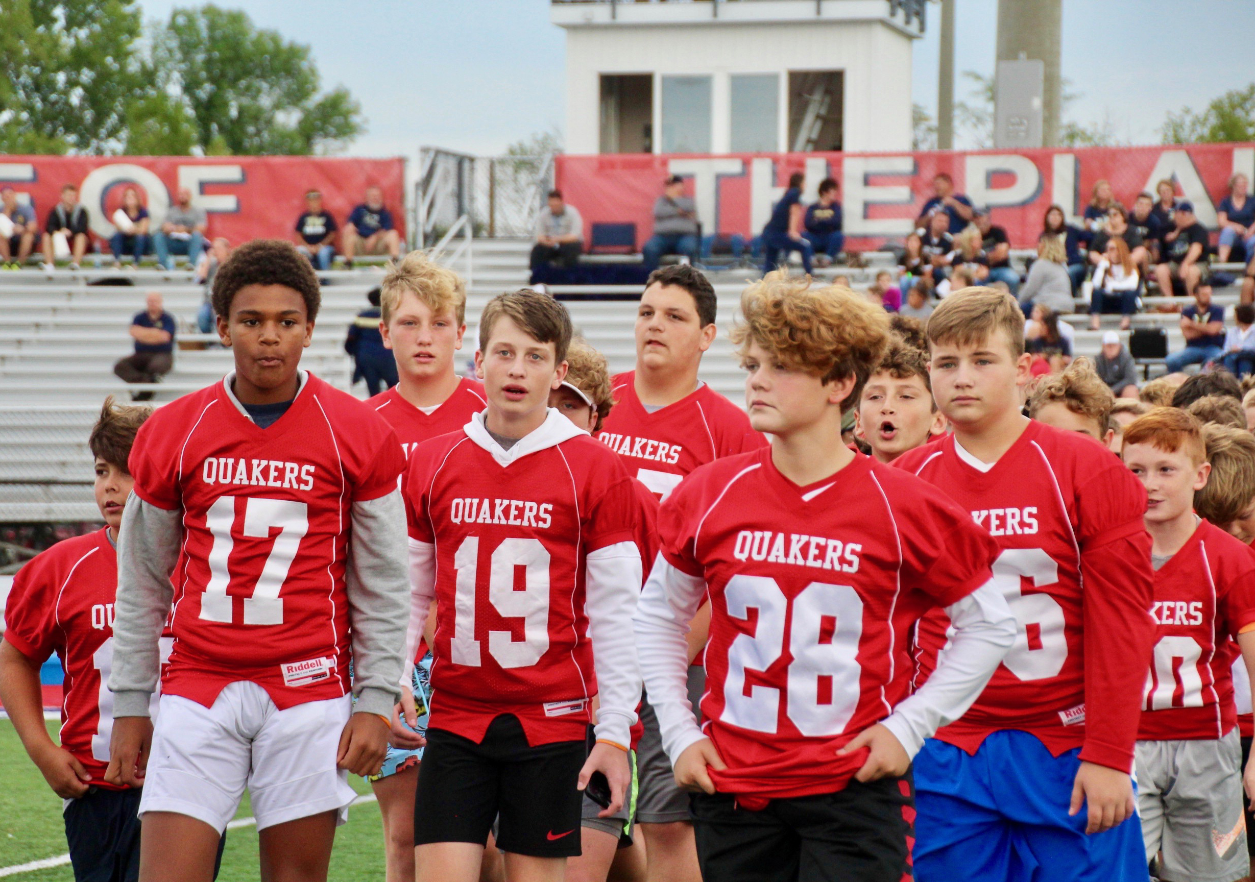 Members of the 7th grade football team took part in Optimist Youth Football Night at a PHS Varsity game