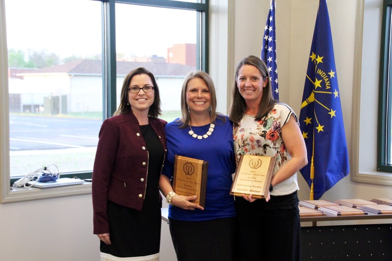Central principal Julie Thacker, with Heidi Schwettman and Jenni Menser