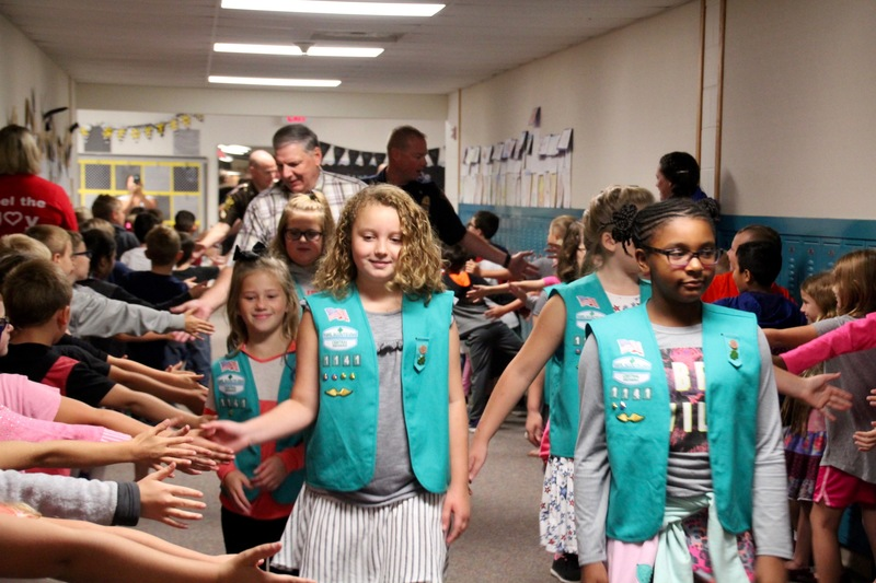 At @vbquakers, members of their girl scout troup led the way through the hallways