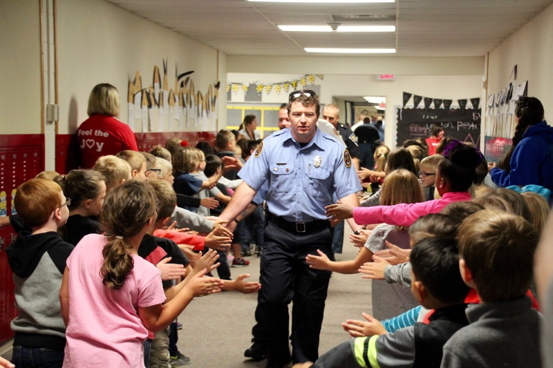 @PlainfieldFire1 personnel were greeted enthusiastically by students as they paraded through the hallways.