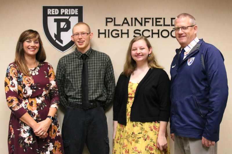 PHS seniors, Dan Steely and Mary Czyzewski, flanked by Director of Guidance Marci Davis and Principal Mel Siefert