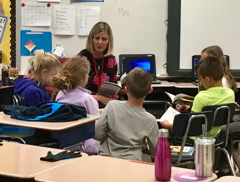 Pictured here is Teri Walters, retired 4th grade teacher from @vbquakers, who is subbing for a few weeks in a 2nd grade classroom.
