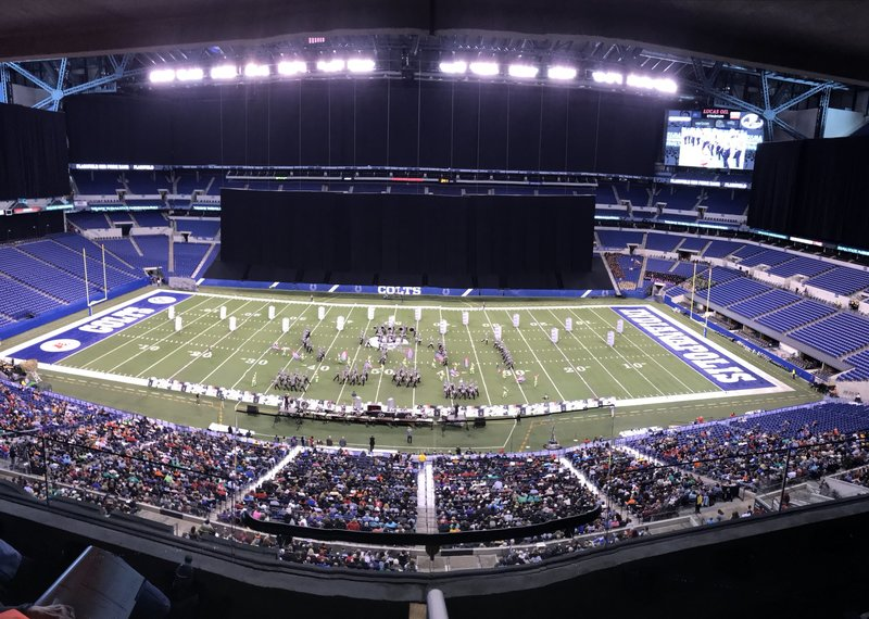 The PHS Red Pride Marching Band, on the field to perform for a State Championship!