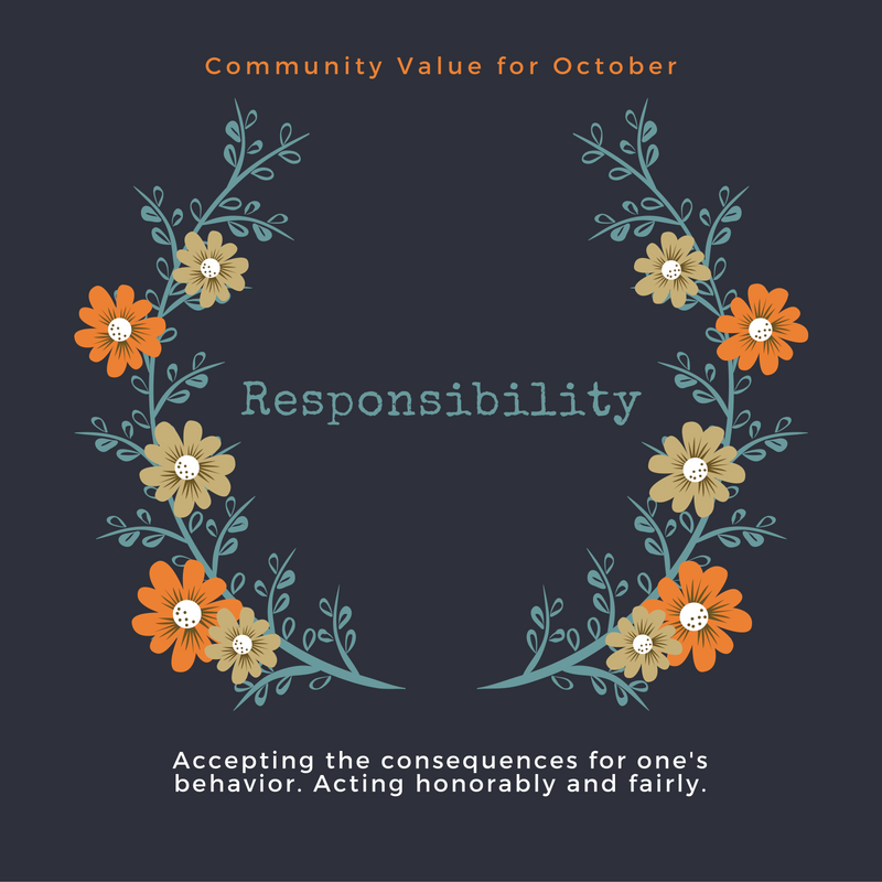 Plainfield's community value for October is Responsibility