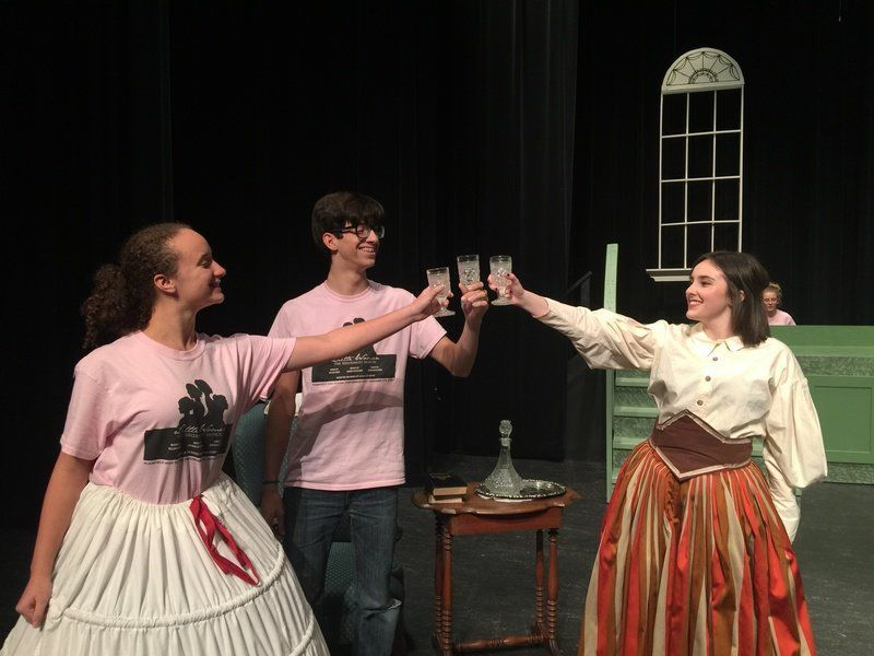 "Logan Eddington, Stephen Avilez and Abby Moyers rehearse one of their scenes for today's performances of ""Little Women: The Musical"""