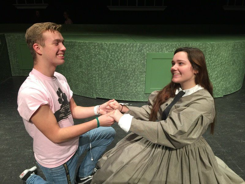 Logan Wuertley and Rachel Peterson rehearse their scene for Little Women: The Musical