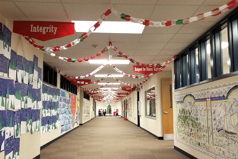 A paper chain of kindnesses decorates the hallways of Brentwood Elementary this month.