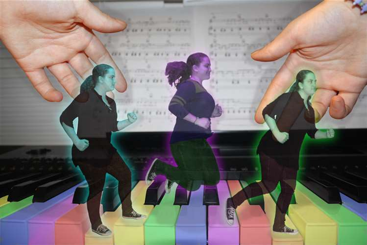 Emily Wood used PhotoShop to create this image of herself running across the rainbow-hued keys of a piano.
