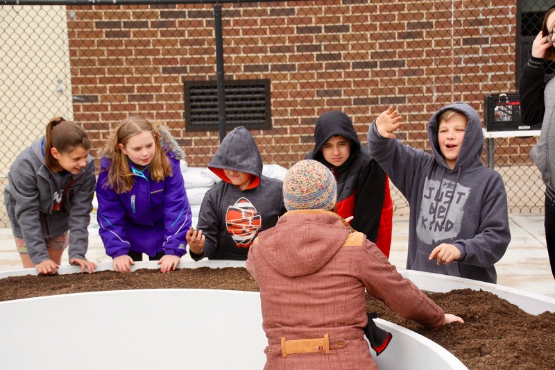 5th grade students prepared the soil for the first planting of peas and lettuce.