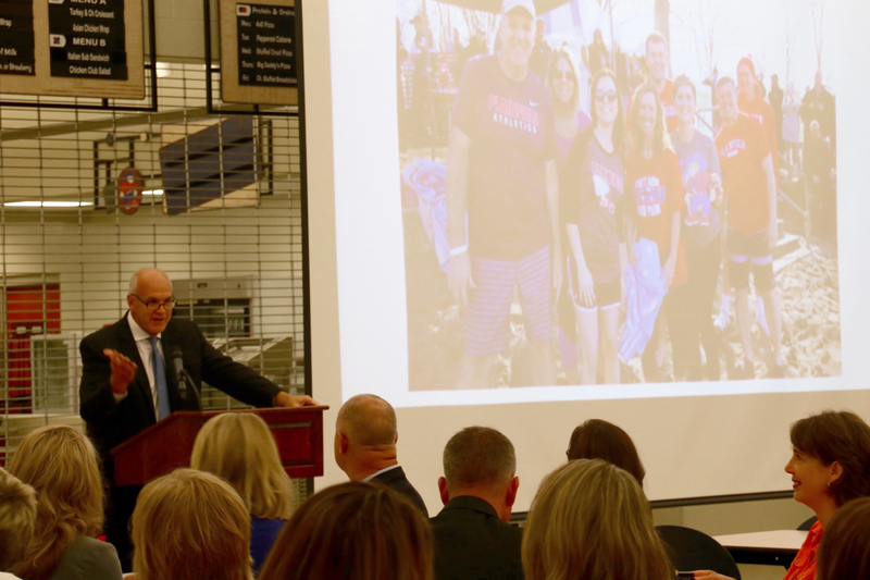 Superintendent Scott Olinger welcoming everyone to the breakfast and the new school year