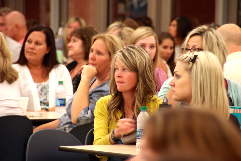 Teachers listening to important updates for the coming year