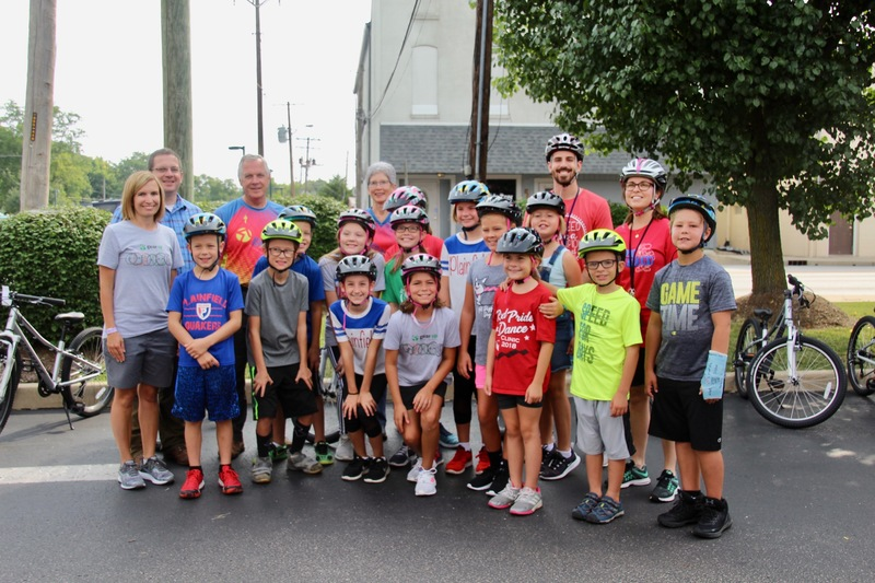 The Gibbs Family and the Central students who rode their new bikes to Central Elementary